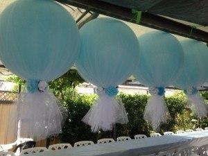 decoraciones con globos y tul